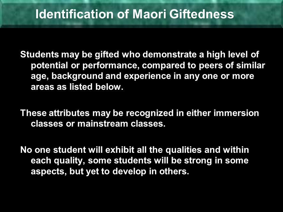 Identification of Maori Giftedness