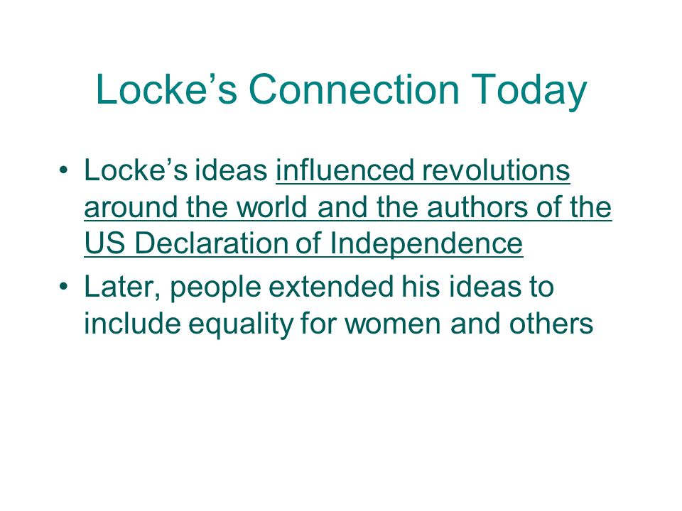 Locke's Connection Today
