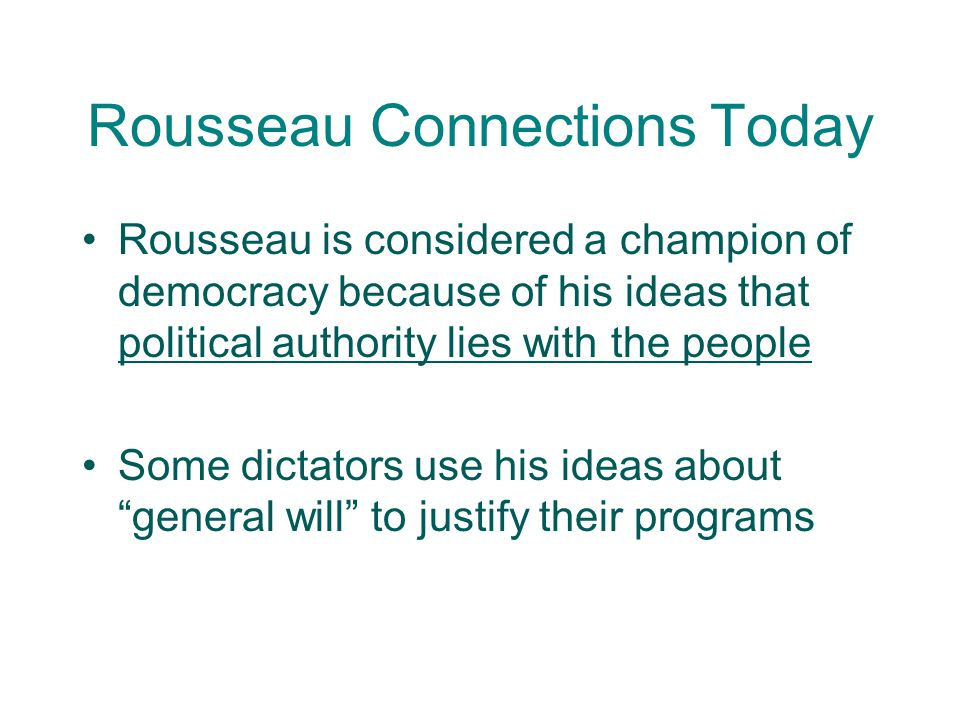 Rousseau Connections Today