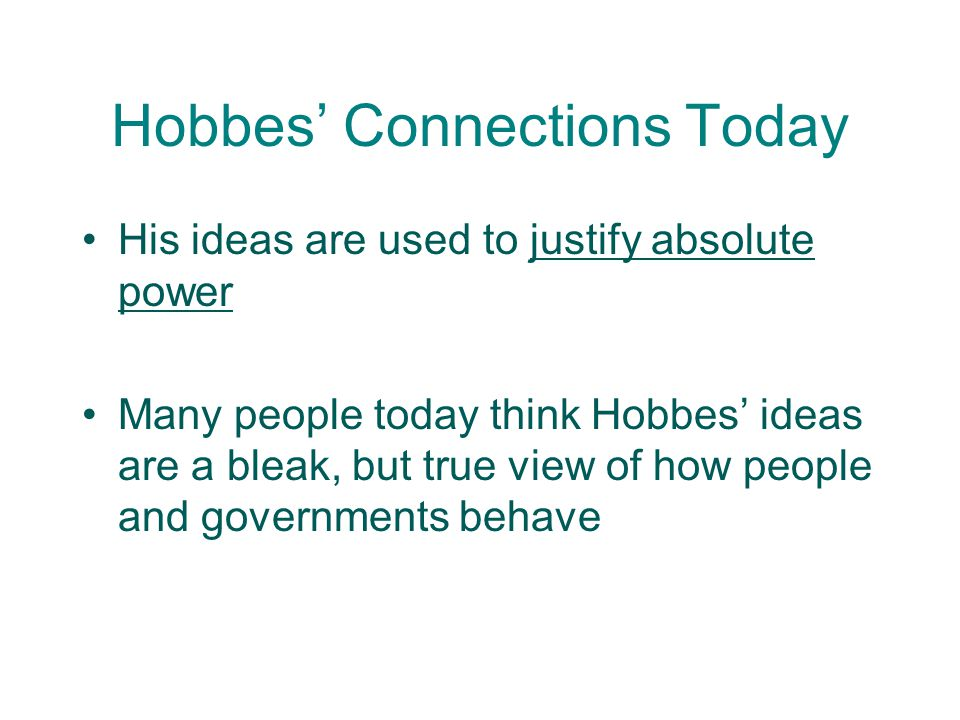 Hobbes' Connections Today