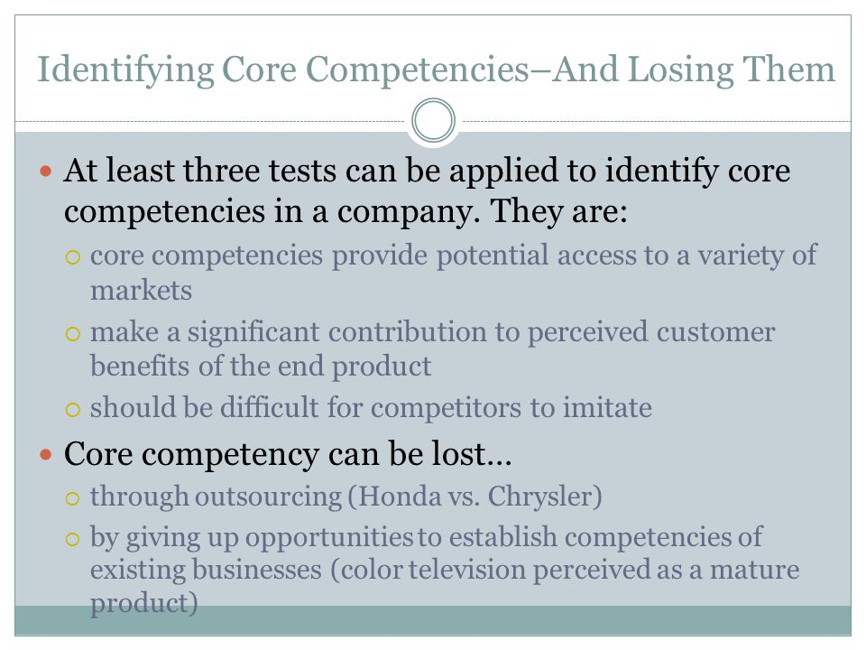 Identifying Core Competencies–And Losing Them