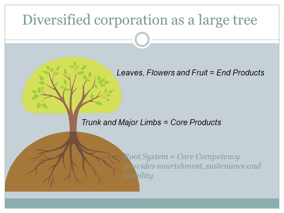 Diversified corporation as a large tree