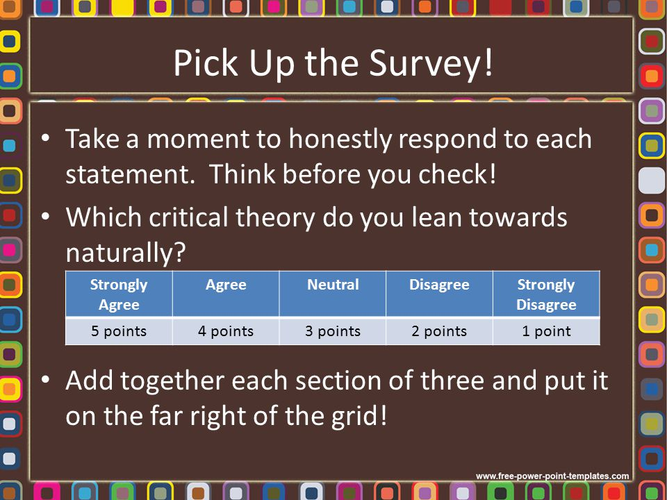 Pick Up the Survey! Take a moment to honestly respond to each statement. Think before you check!