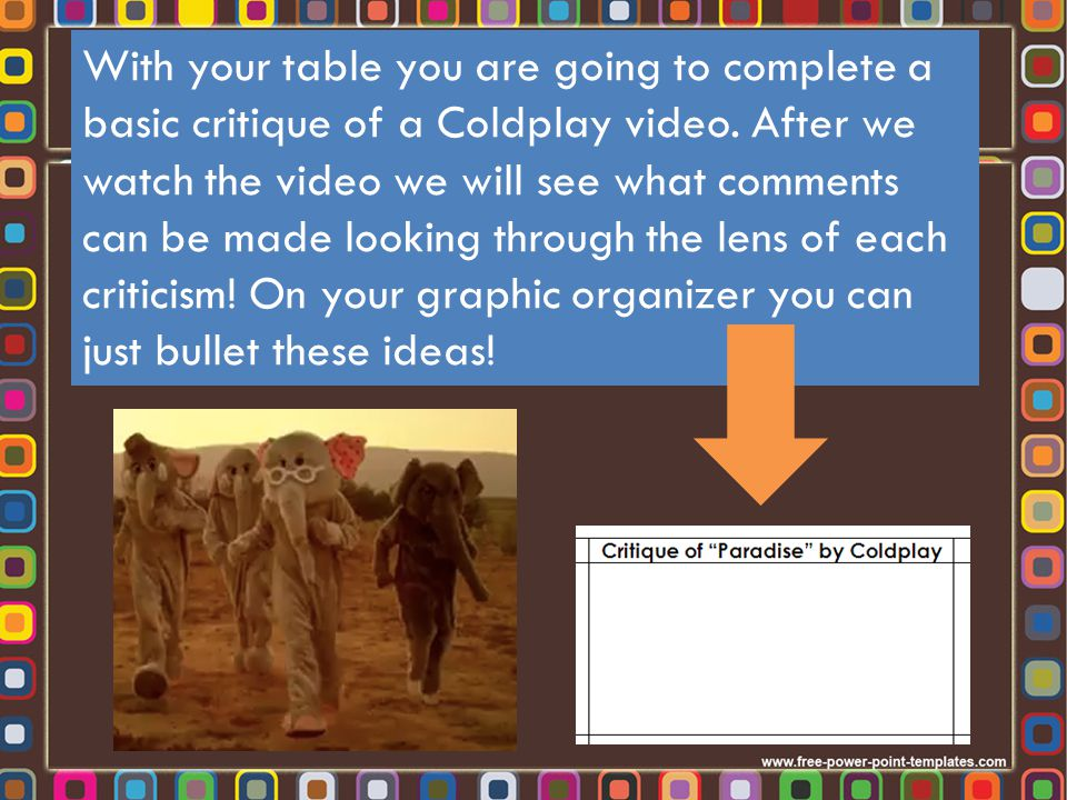 With your table you are going to complete a basic critique of a Coldplay video.