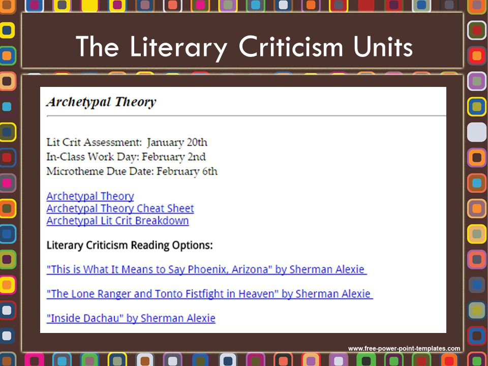 The Literary Criticism Units