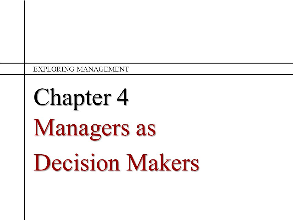 Managers as Decision Makers