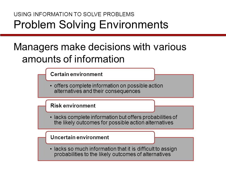 USING INFORMATION TO SOLVE PROBLEMS Problem Solving Environments