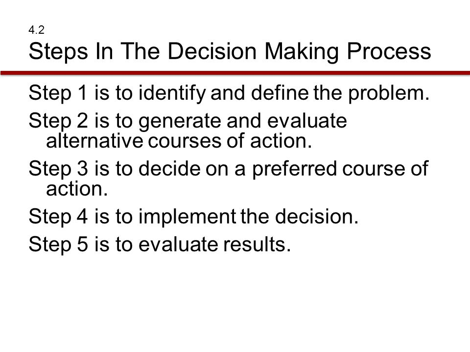 4.2 Steps In The Decision Making Process