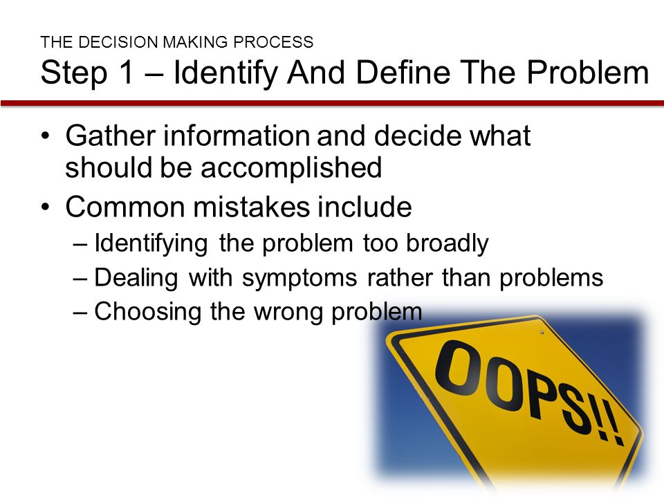 THE DECISION MAKING PROCESS Step 1 – Identify And Define The Problem