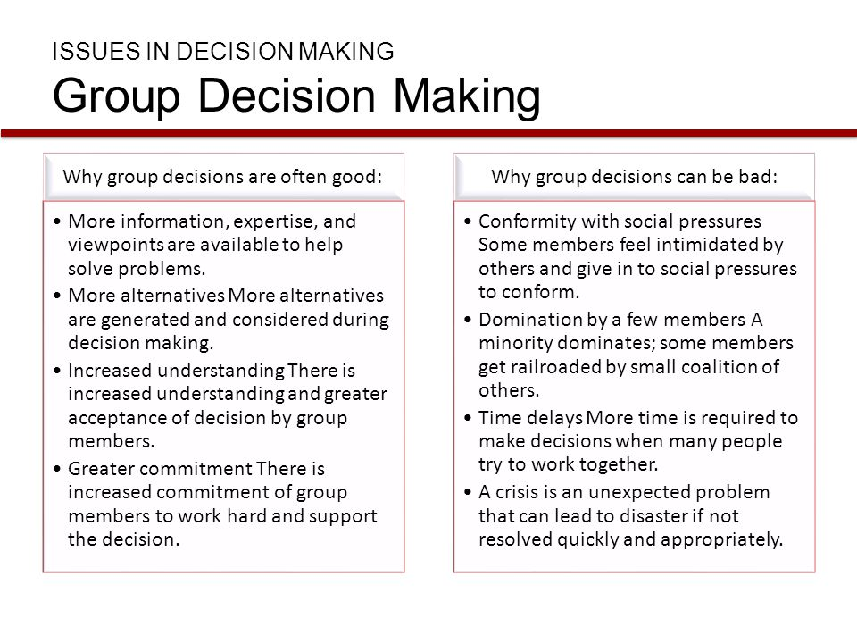 ISSUES IN DECISION MAKING Group Decision Making