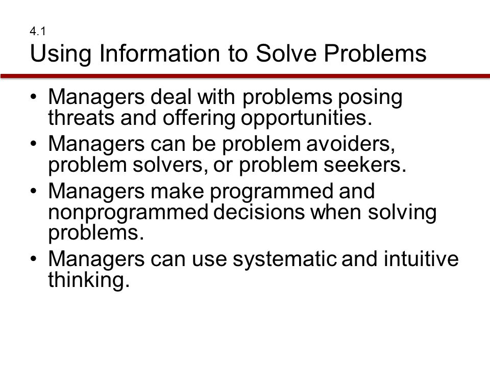 4.1 Using Information to Solve Problems