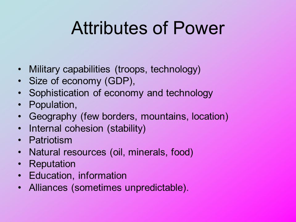 Attributes of Power Military capabilities (troops, technology)
