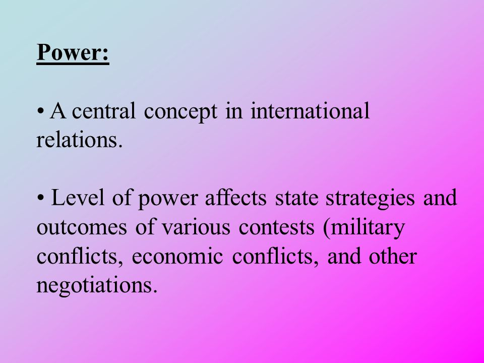 Power: A central concept in international relations.