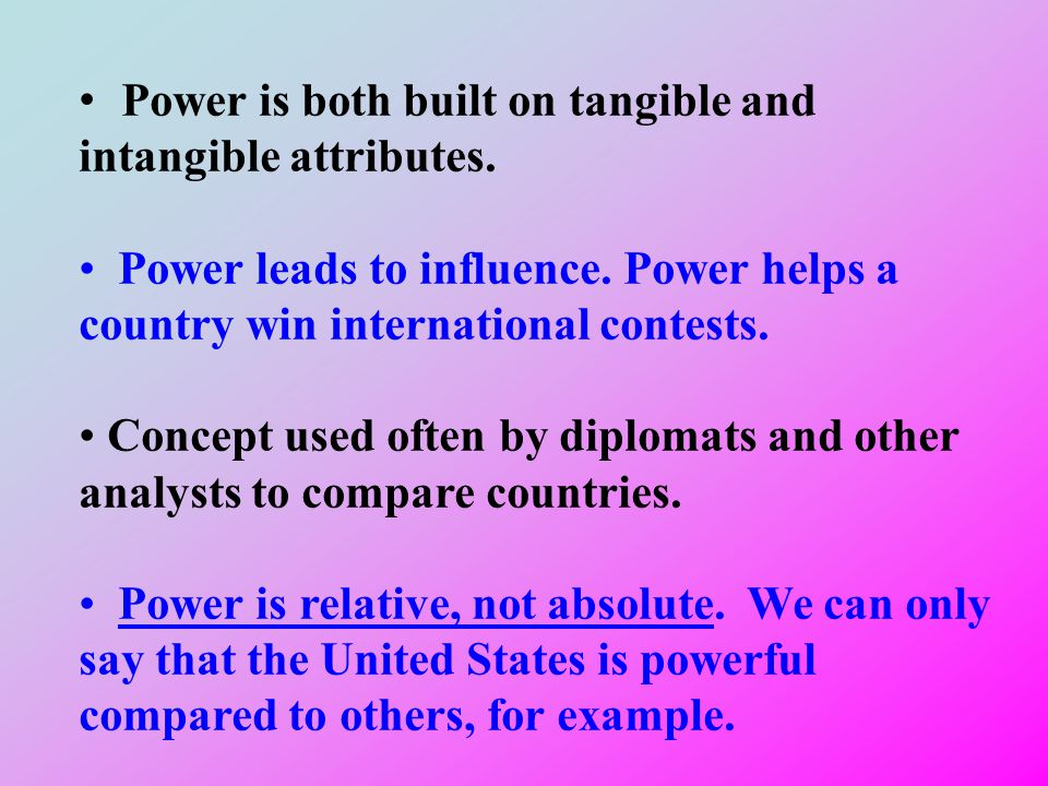 Power is both built on tangible and intangible attributes.