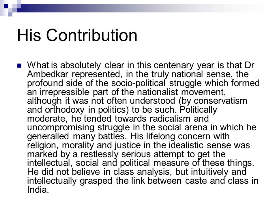 His Contribution