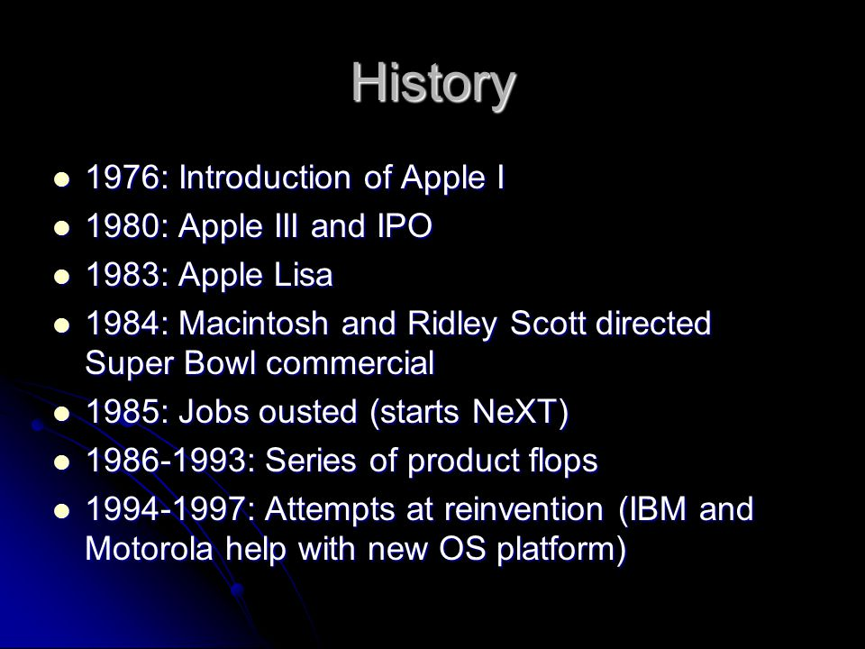 History 1976: Introduction of Apple I 1980: Apple III and IPO