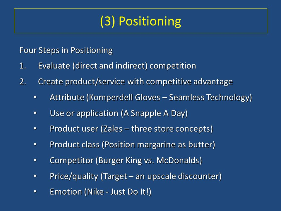 (3) Positioning Four Steps in Positioning