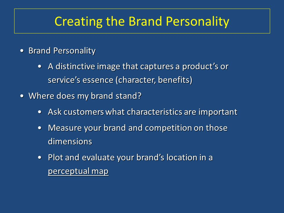 Creating the Brand Personality