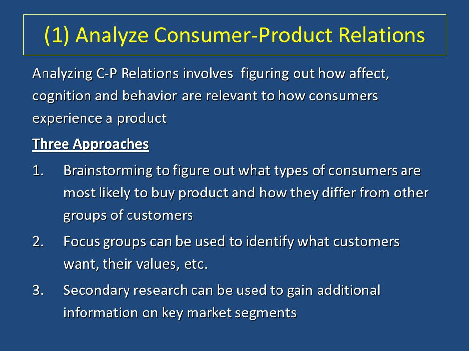 (1) Analyze Consumer-Product Relations