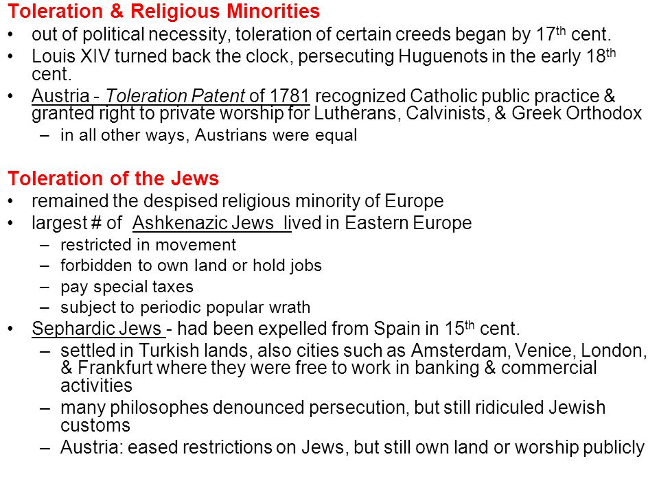 Toleration & Religious Minorities