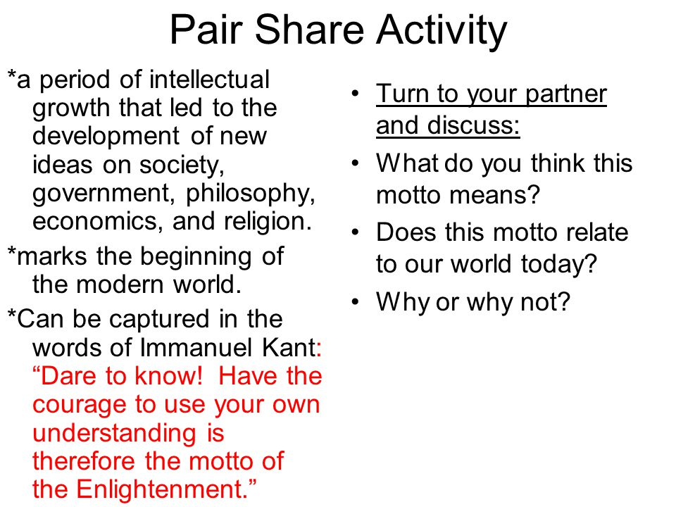 Pair Share Activity
