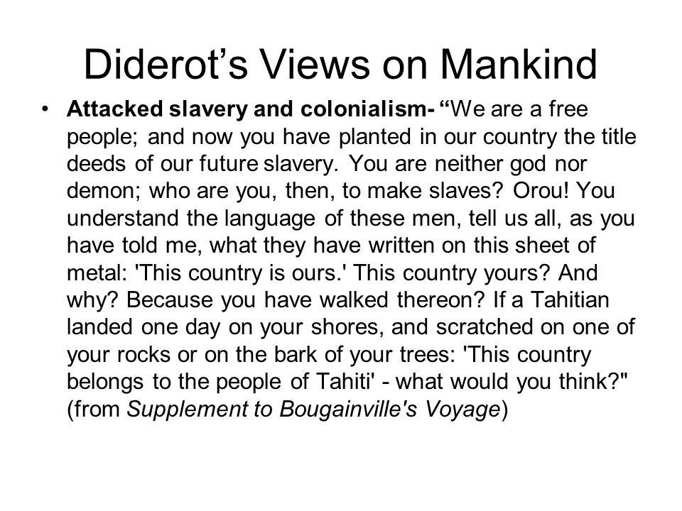 Diderot's Views on Mankind