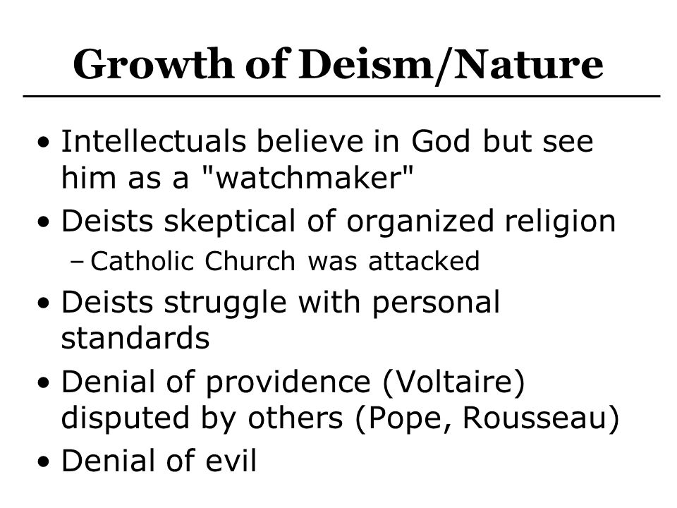 Growth of Deism/Nature