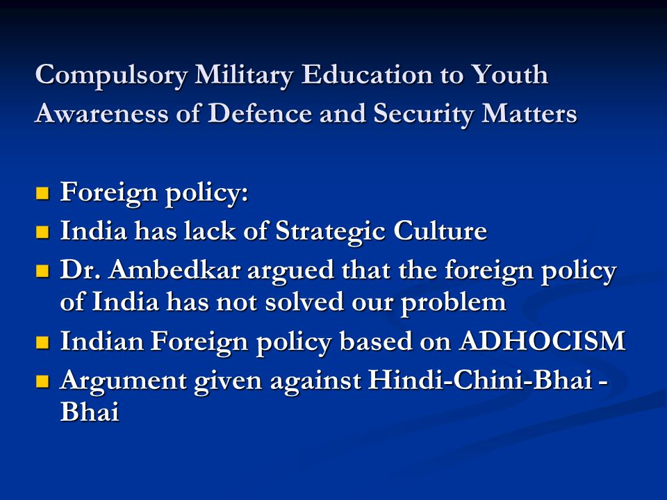 Compulsory Military Education to Youth