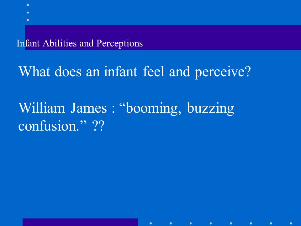 What does an infant feel and perceive