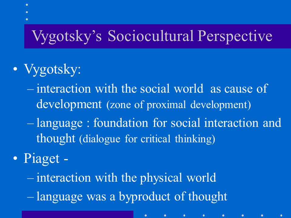 Vygotsky's Sociocultural Perspective