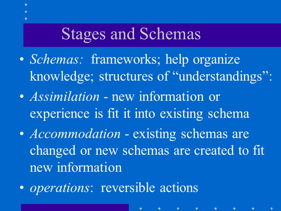 Stages and Schemas Schemas: frameworks; help organize knowledge; structures of understandings :