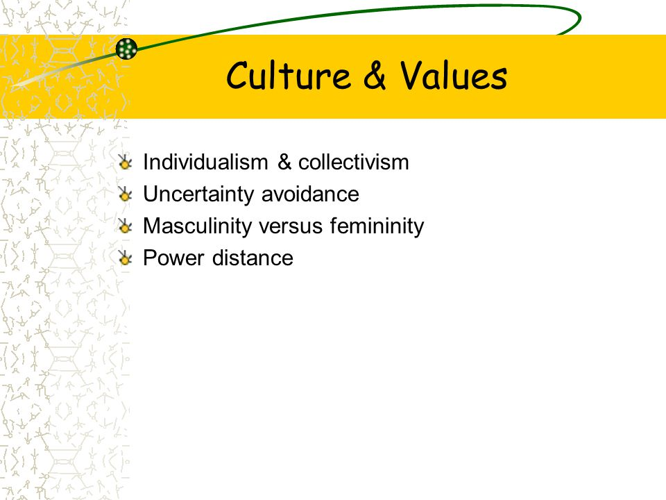 Culture & Values Individualism & collectivism Uncertainty avoidance