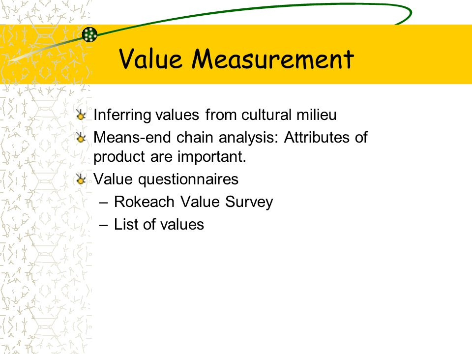 Value Measurement Inferring values from cultural milieu