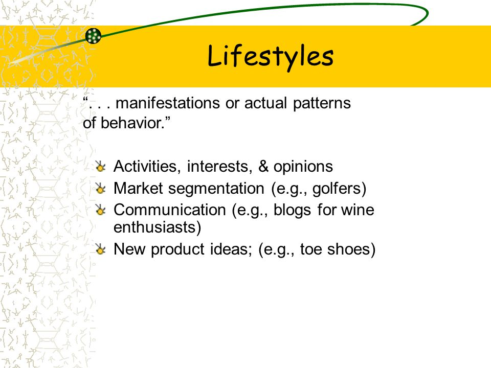 Lifestyles . . . manifestations or actual patterns of behavior.