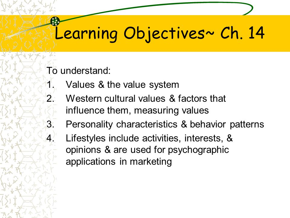 Learning Objectives~ Ch. 14