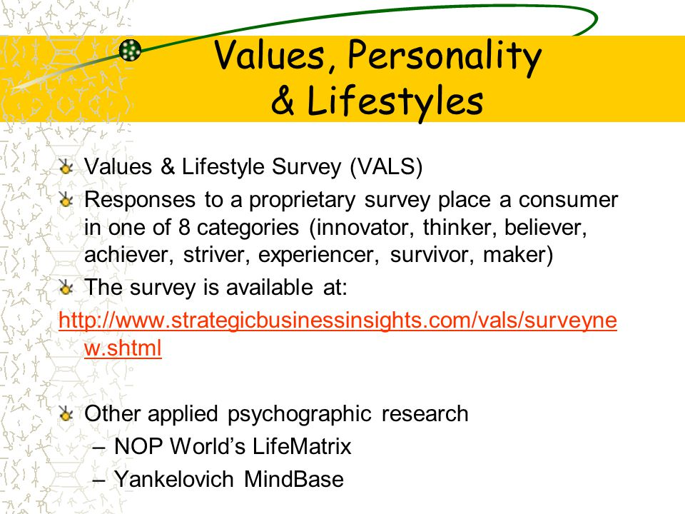 Values, Personality & Lifestyles