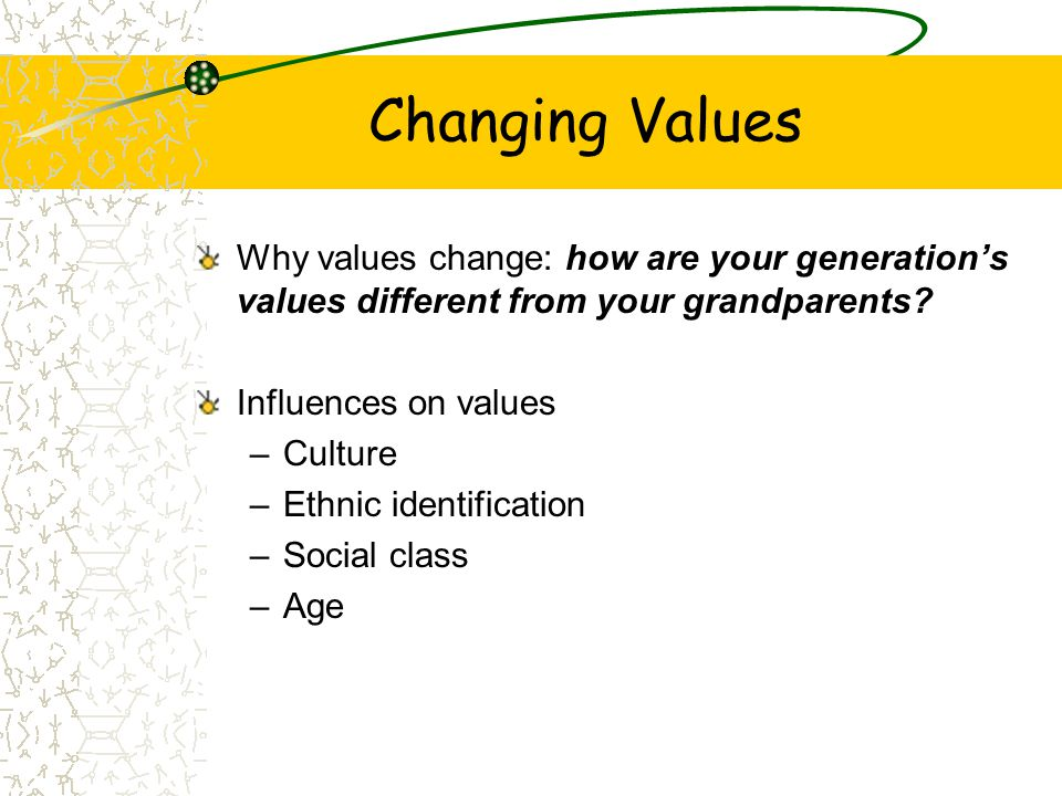 Changing Values Why values change: how are your generation's values different from your grandparents