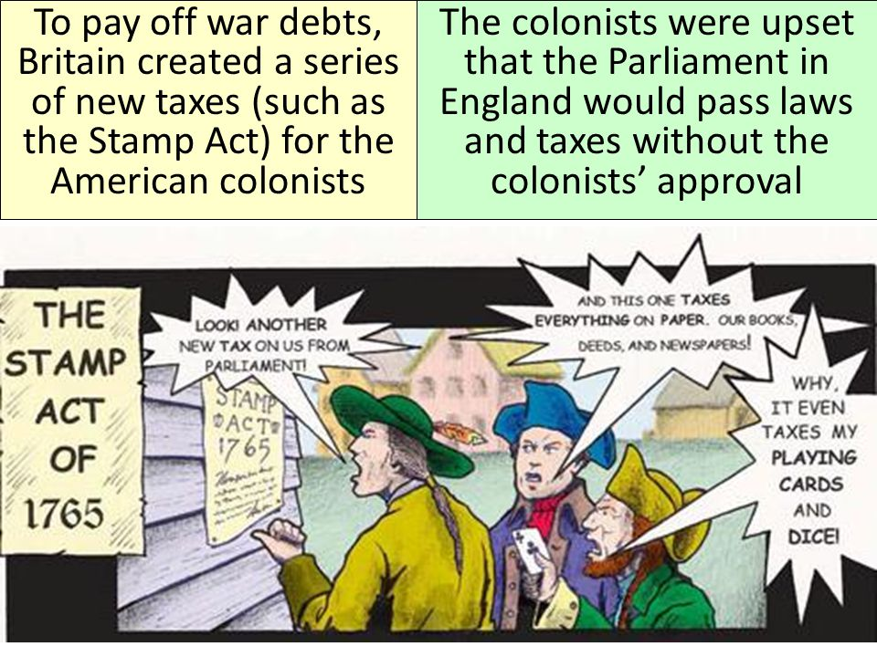 To pay off war debts, Britain created a series of new taxes (such as the Stamp Act) for the American colonists