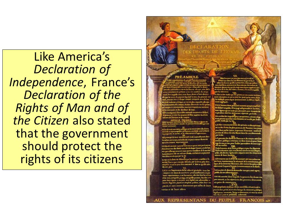Like America's Declaration of Independence, France's Declaration of the Rights of Man and of the Citizen also stated that the government should protect the rights of its citizens