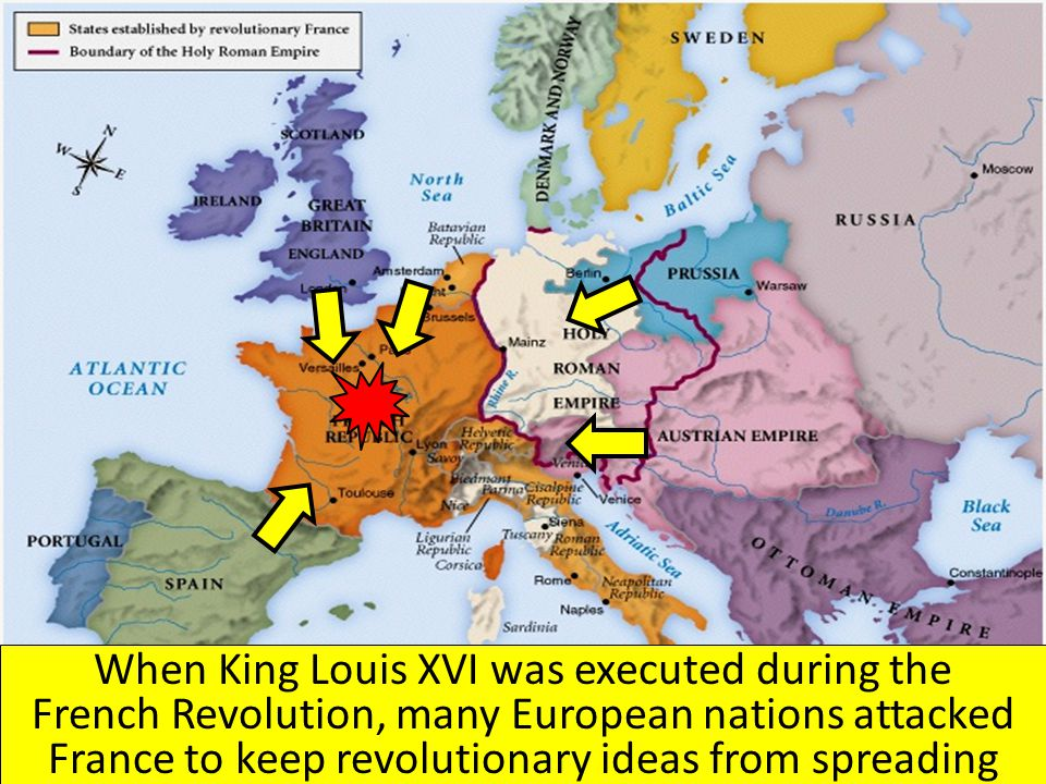When King Louis XVI was executed during the French Revolution, many European nations attacked France to keep revolutionary ideas from spreading
