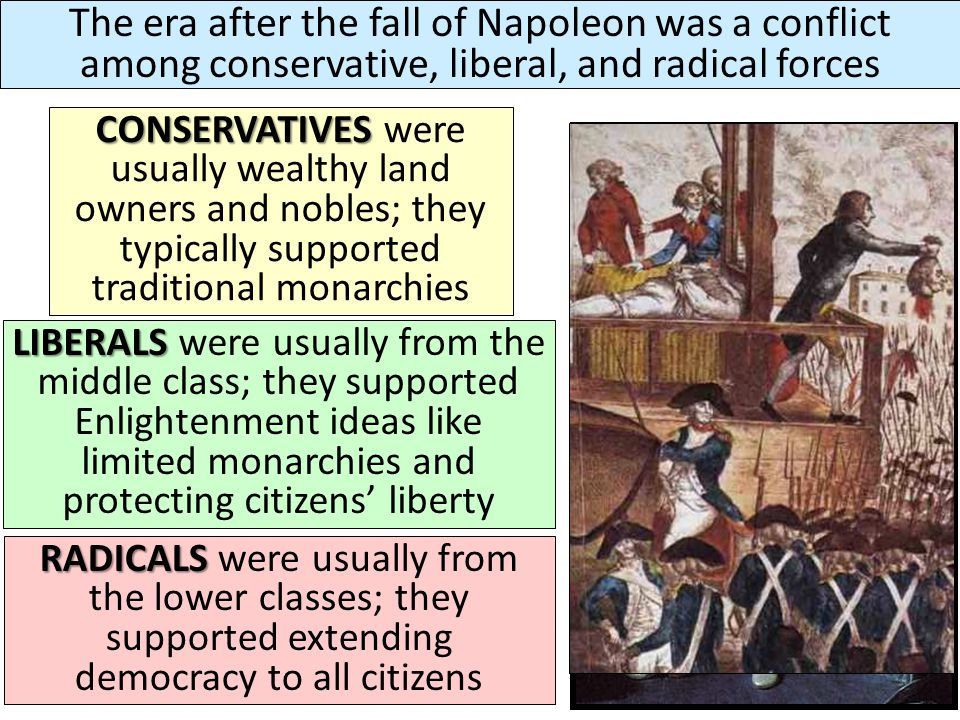 The era after the fall of Napoleon was a conflict among conservative, liberal, and radical forces
