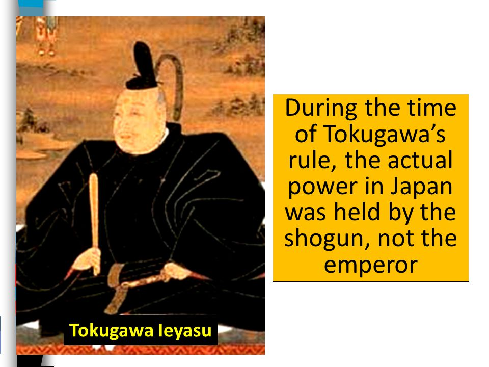During the time of Tokugawa's rule, the actual power in Japan was held by the shogun, not the emperor