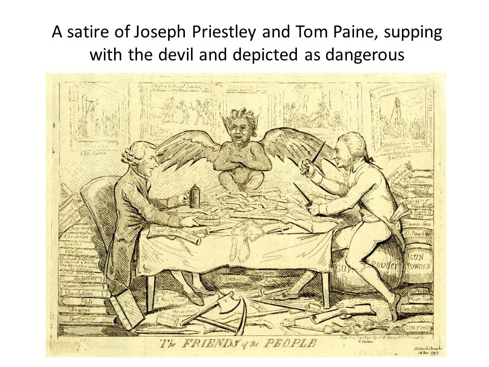 A satire of Joseph Priestley and Tom Paine, supping with the devil and depicted as dangerous