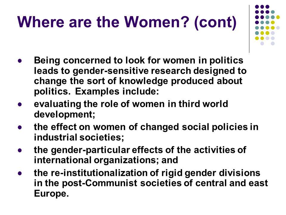 Where are the Women (cont)