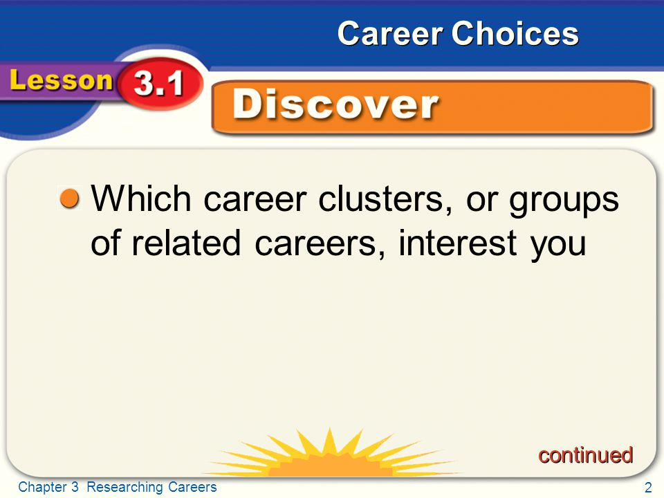 Which career clusters, or groups of related careers, interest you