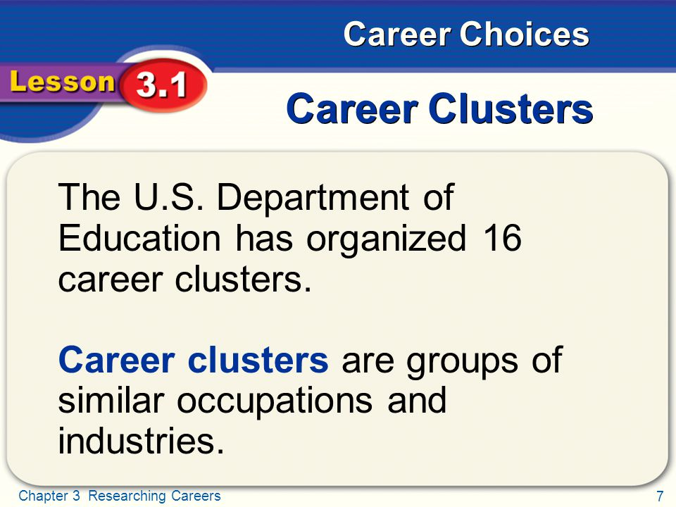 Career Clusters The U.S. Department of Education has organized 16 career clusters.