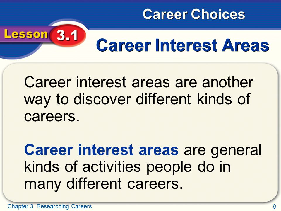 Career Interest Areas Career interest areas are another way to discover different kinds of careers.
