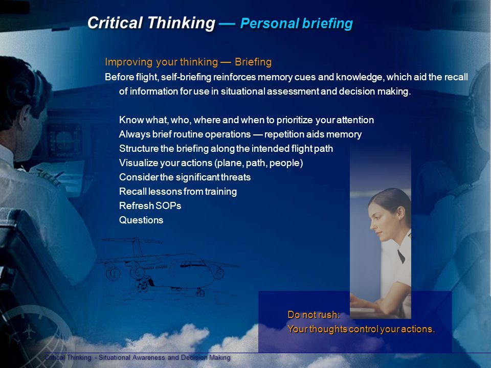 Critical Thinking — Personal briefing