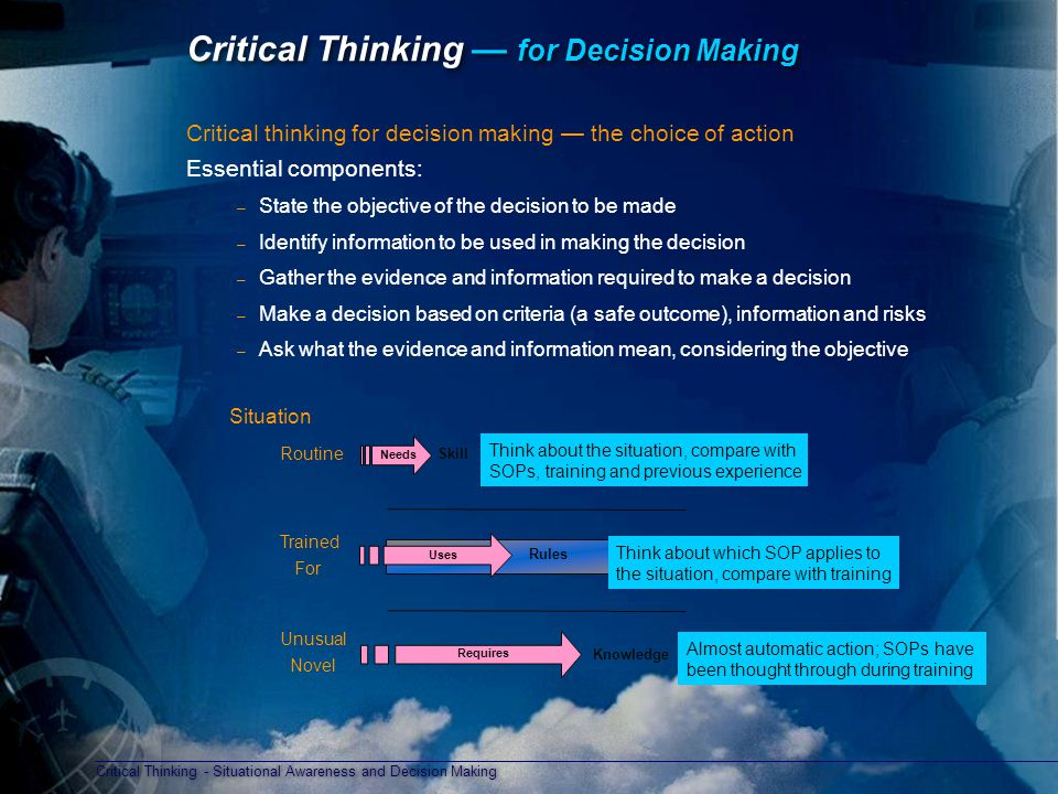critical thinking & decision making interview questions and answers Learn about a prospective employee's decision-making skills with these sample behavioral interview questions which will help you assess their expertise.