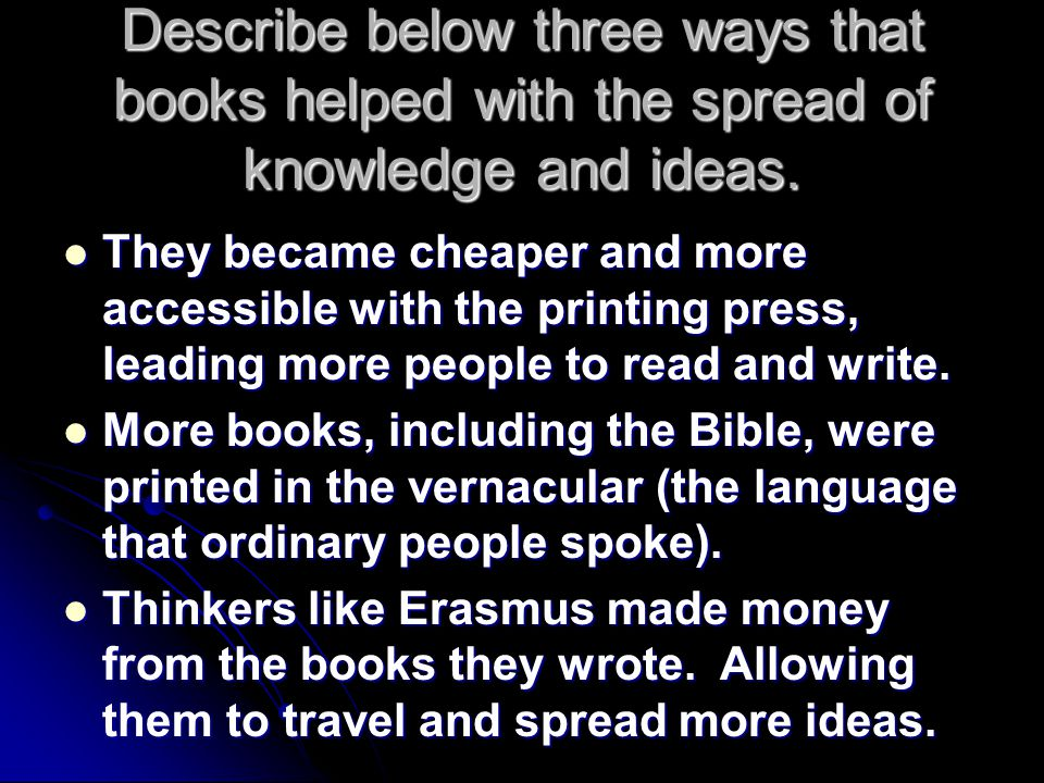 Describe below three ways that books helped with the spread of knowledge and ideas.